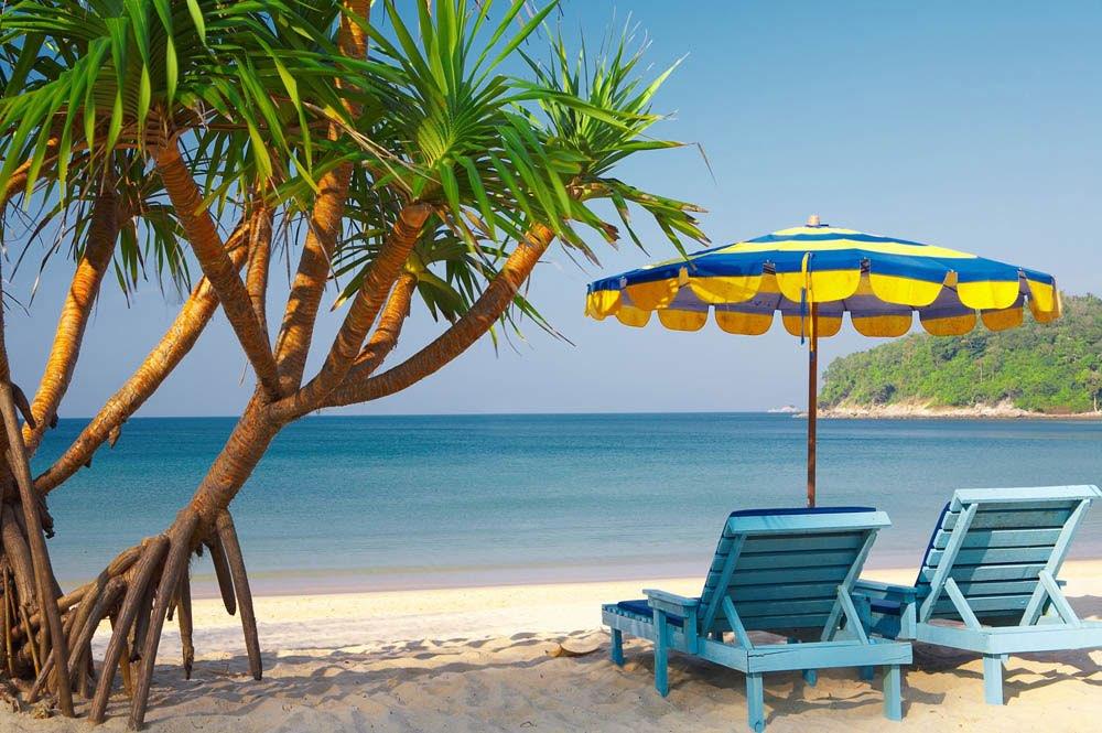Tropische boom op strand met parasol en blauwe ligstoelen - Ligstoelen en merisier ...