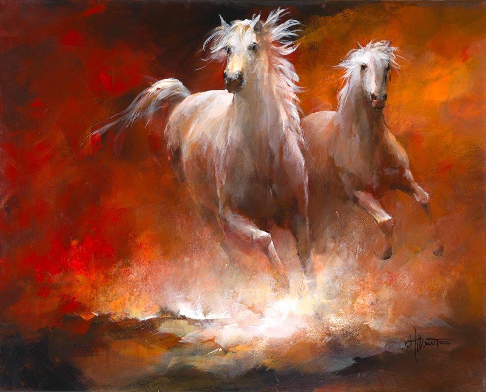 Geschilderd doek met galopperende paarden - Doek doek ...