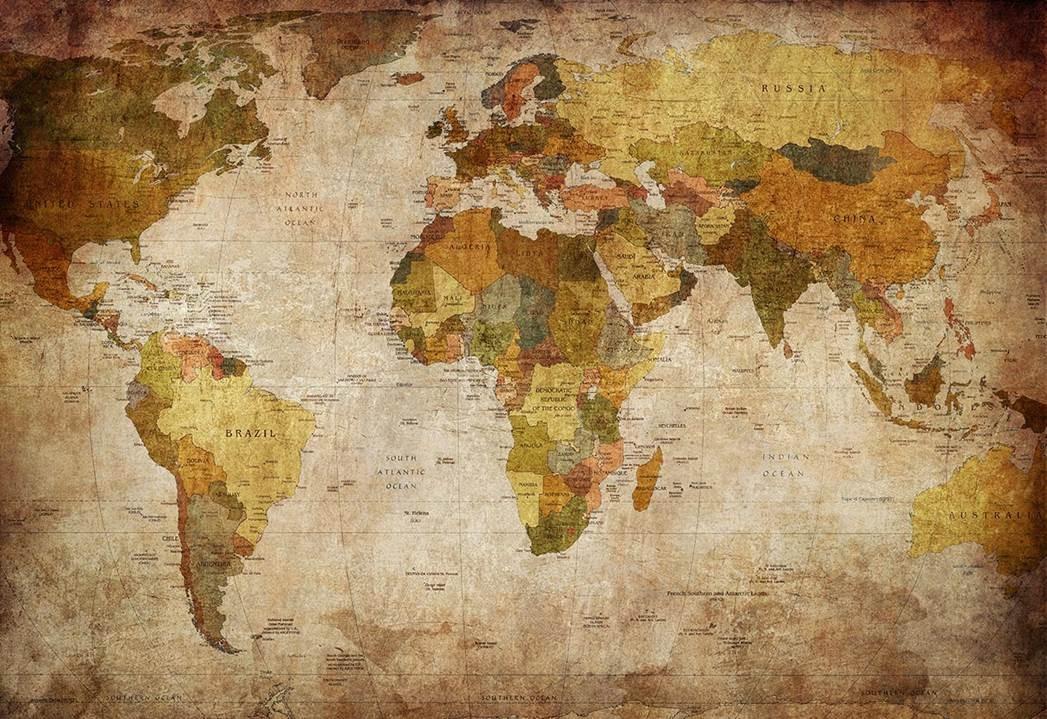 Woonkamer Met Wereldkaart : Wereldkaart posters met fantastische kleuren ideaal voor jouw tuin